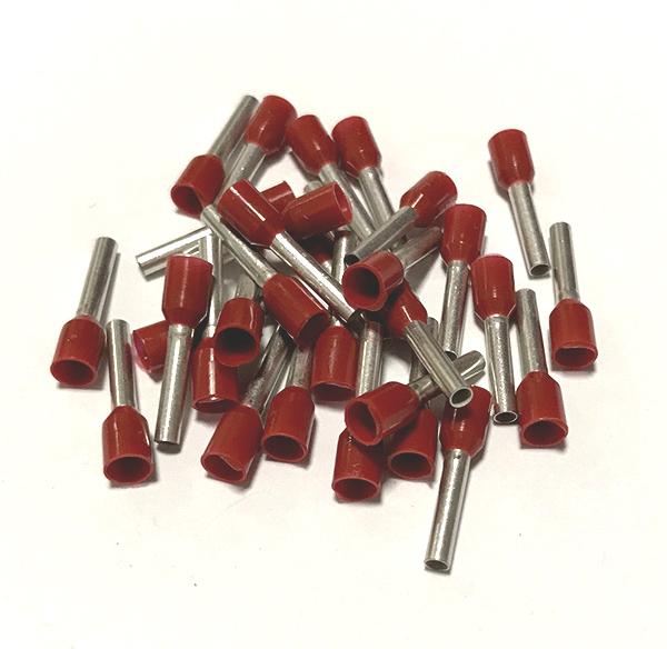 Dutinka izolovaná, průřez 1,5mm2 / délka 10mm, rudá