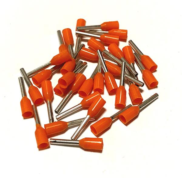 Dutinka izolovaná, průřez 0,50mm2 / délka 8mm, oranžová