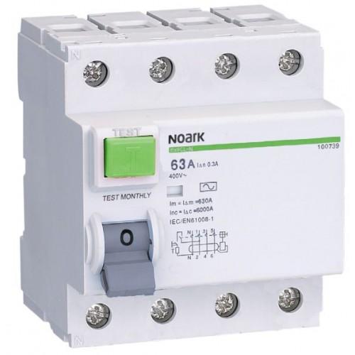 Proudový chránič Noark Ex9L-N 4P 40A 300mA 108340