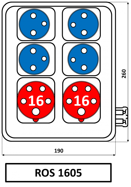 ROS 1605 Zásuvková rozvodnice 16A IP44 SEZ