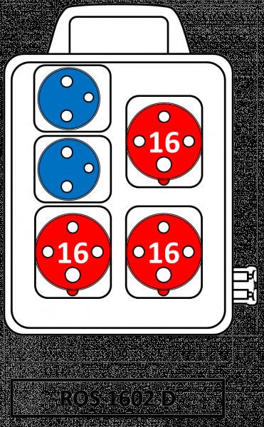 ROS 1602 D Zásuvková rozvodnice s držadlem 16A IP44 SEZ
