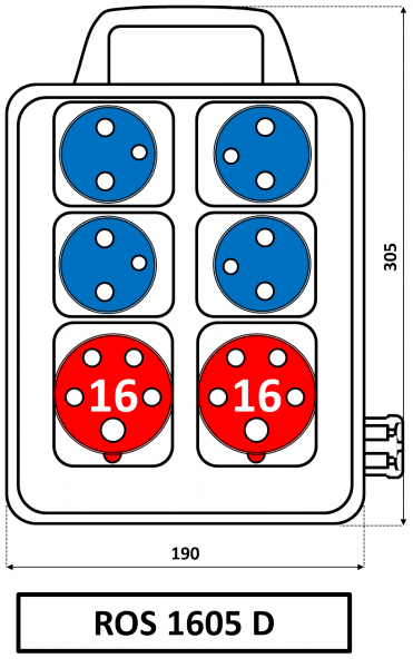 ROS 1605 D Zásuvková rozvodnice s držadlem 16A IP44 SEZ