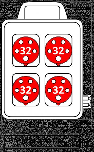 ROS 3201 D Zásuvková rozvodnice s držadlem 32A IP44 SEZ