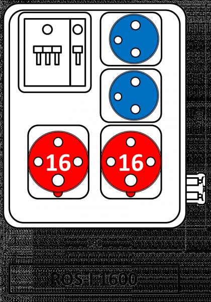 ROS-I 1600 Zásuvková rozvodnice jištěná 16A IP44 SEZ