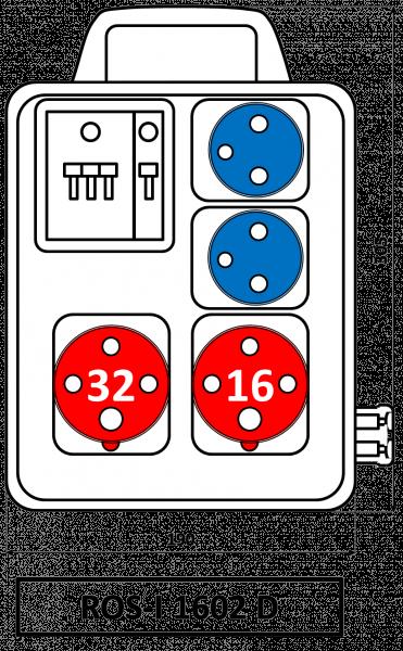 ROS-I 1602 D Zásuvková rozvodnice jištěná s držadlem 16A IP44 SEZ