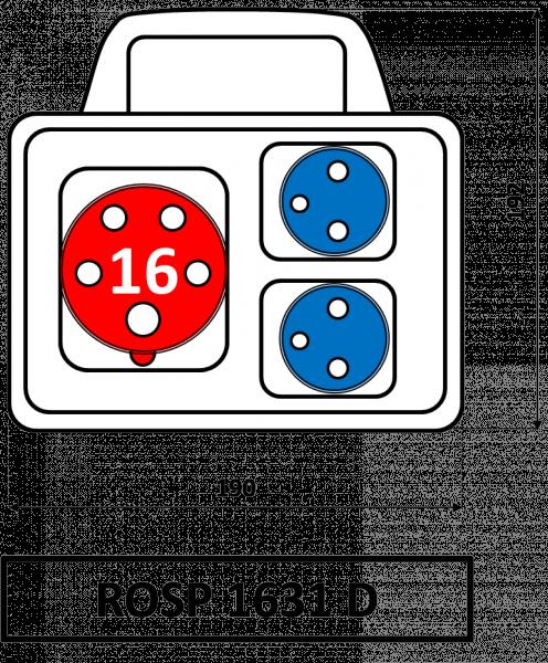 ROSP 1631 D Zásuvková rozvodnice Praktik s držadlem 16A IP54 SEZ