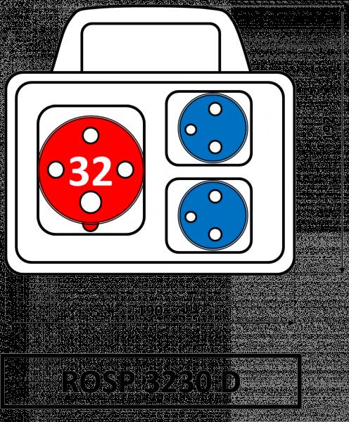 ROSP 3230 D Zásuvková rozvodnice Praktik s držadlem 32A IP54 SEZ