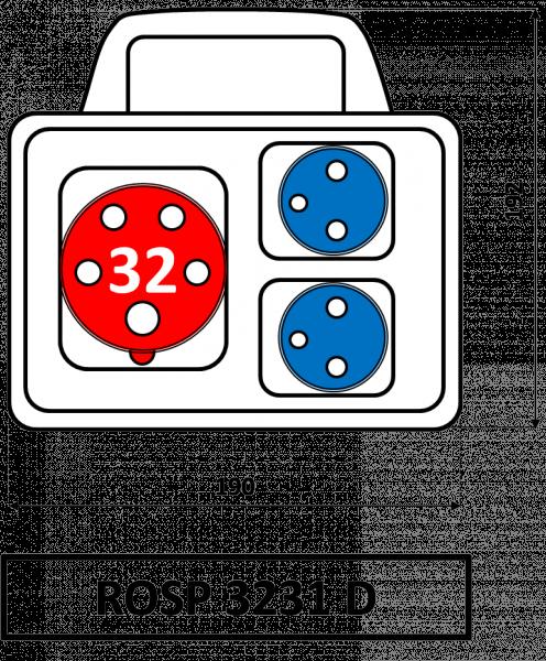 ROSP 3231 D Zásuvková rozvodnice Praktik s držadlem 32A IP54 SEZ