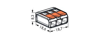 Wago svorka bezšroubová s páčkou - 3 vodiče 221-413